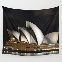 Australia Photography - The Sydney Opera House Lit Up In The Dark Night Wall Tapestry