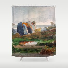 12,000pixel-500dpi - Winslow Homer1 - The Mussel Gatherers - Digital Remastered Edition Shower Curtain