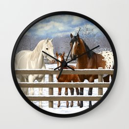 White Bay Appaoosa Horses In Snow Wall Clock