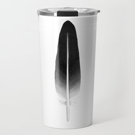 black feather, watercolor Travel Mug