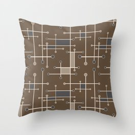 Intersecting Lines in Brown, Tan and Gray Throw Pillow