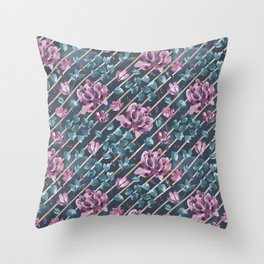 They Only Come Out At Night - Beautiful Abstract Flowers With Golden Stripes Throw Pillow