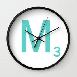 Blue Letter M Scrabble Tiles Wall Clock