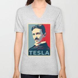 Tesla poster Unisex V-Neck