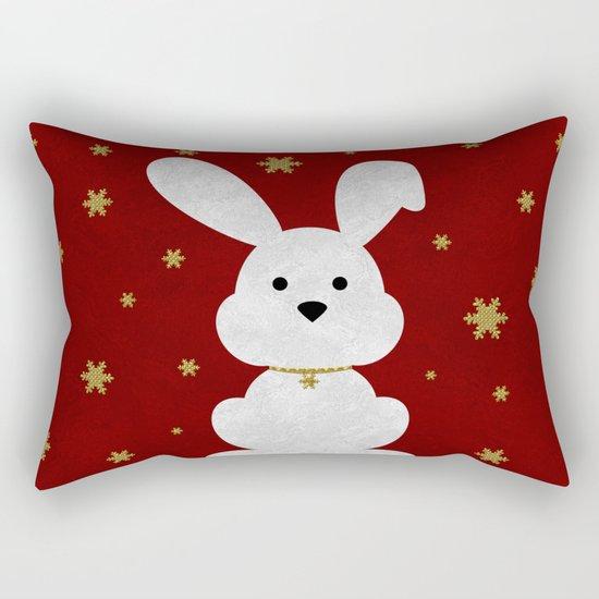 Christmas Bunny Red Marble Rectangular Pillow