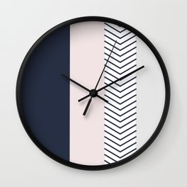 Navy Blush and Grey Arrow Wall Clock