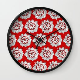 Background abstract red doodle-flowers, pattern, vector, texture design. Wall Clock