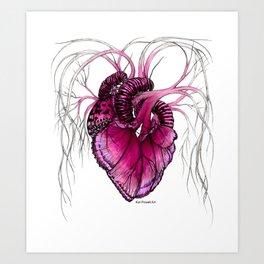 Buttefly Heart Pink Art Print