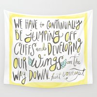 kurt rahn Wall Tapestries featuring jumping off cliffs - kurt vonnegut quote by Shaina Anderson