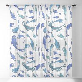 Blue fish Sheer Curtain