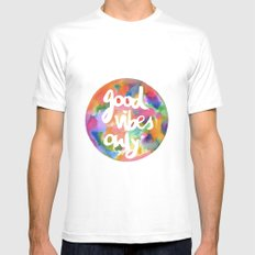 Good Vibes Only MEDIUM White Mens Fitted Tee