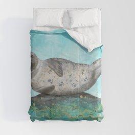 Cute Alaskan Iliamna Seal in Banana Pose Comforters