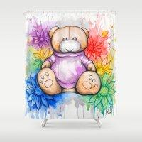 teddy bear Shower Curtains featuring Teddy bear by Villarreal