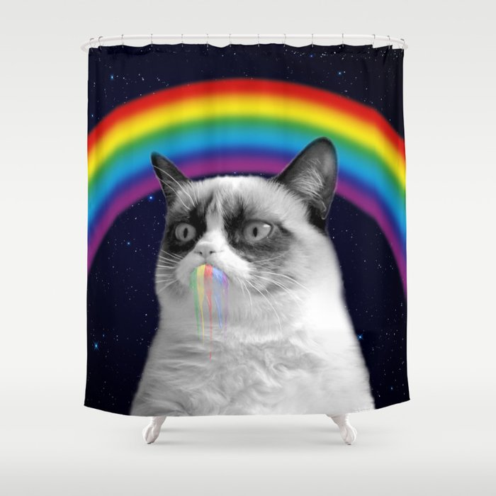 Cat All Over Galaxy Rainbow Puke Space Crazy Cats Shower Curtain