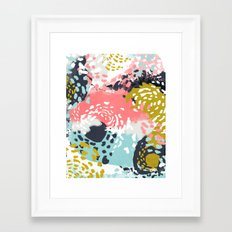 Athena - Abstract, pink, pastel, yellow, blue painting, abstract cell phone case, painterly design Framed Art Print