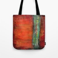copper Tote Bags featuring Copper by Paper Rescue Designs
