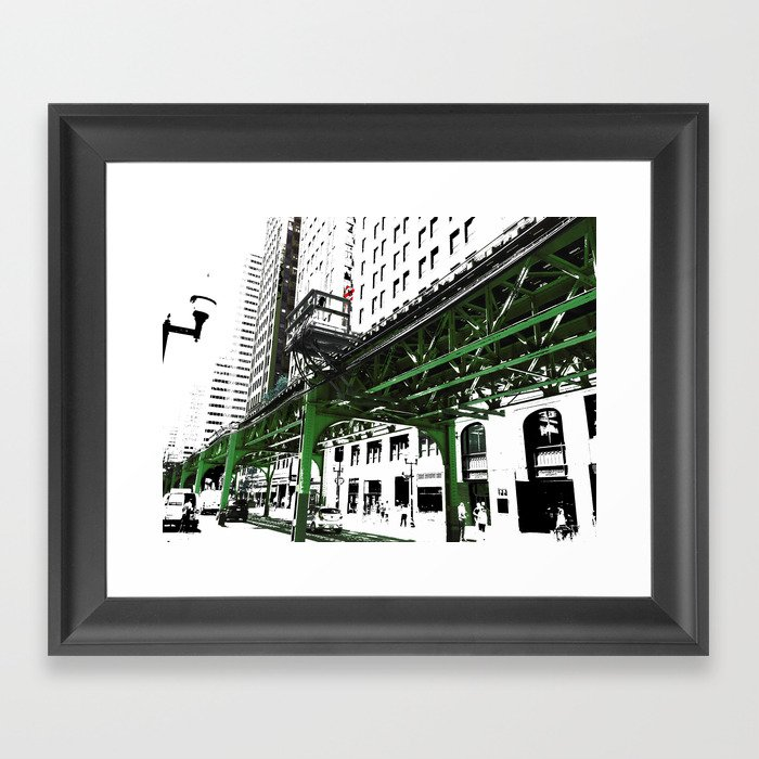 Chicago photography chicago el art print in green black and white framed art print