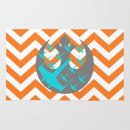 Wraith Squadron and Chevrons in Orange, Gray and Blue Rug