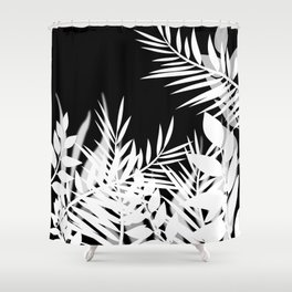 The leaves and berries. Black and white pattern . Shower Curtain