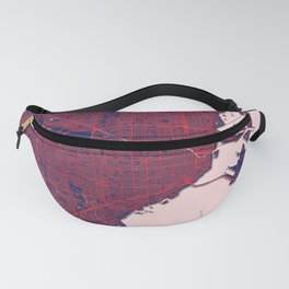 Miami, FL, USA, Blue, White, City, Map Fanny Pack
