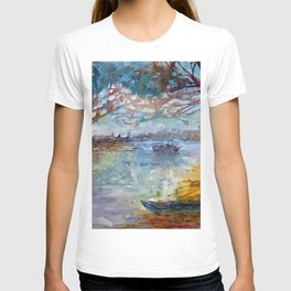 Impressionist Boat and River Landscape in Watercolor T-shirt