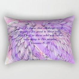 Pink Angel Wings Romans 8:28 Rectangular Pillow