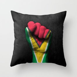 Guyanese Flag on a Raised Clenched Fist Throw Pillow