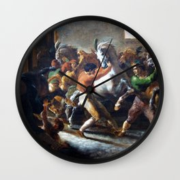 Theodore Gericault - Course de chevaux libres a Rome Wall Clock