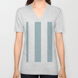 5th Avenue Stripe No. 3 in Robin's Egg Blue and White Onyx Unisex V-Neck
