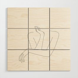 Minimal line drawing of woman's folded arms - Anna Wood Wall Art