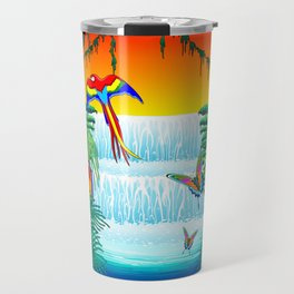 Waterfall Macaws and Butterflies on Exotic Landscape in the Jungle Naif Style Travel Mug