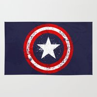 avenger Area & Throw Rugs featuring Captain's America splash by Sitchko Igor