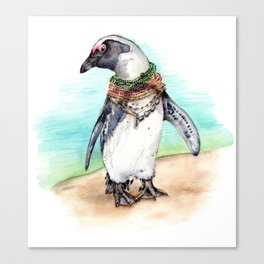 South African Penguin on the Beach Canvas Print