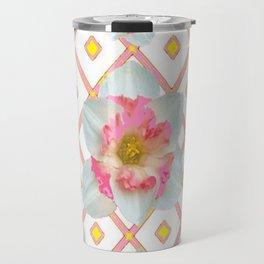 Pink-Yellow Spring Garden Daffodils Travel Mug