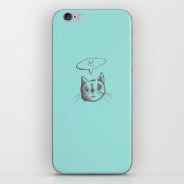The Cat Says Mu (Blue) iPhone Skin