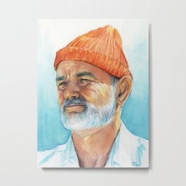 Steve Zissou Art Life Aquatic Bill Murray Watercolor Portrait Metal Print