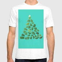 Green Sea Glass Tree on Turquoise #seaglass #Christmas T-shirt