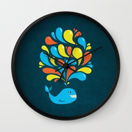 Dark Colorful Happy Cartoon Whale Wall Clock