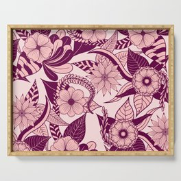 Artsy Girly Plum Pink Floral Illustration Art Serving Tray