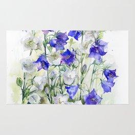 Bluebells watercolor flowers, aquarelle bellflowers Rug
