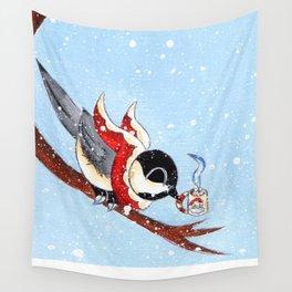 Hot Chocolate Chickadee Wall Tapestry