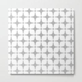 Mid Century Modern Star Pattern Gray Metal Print
