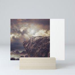 Rock in the ocean Mini Art Print