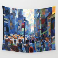 city Wall Tapestries featuring City by Emma Reznikova