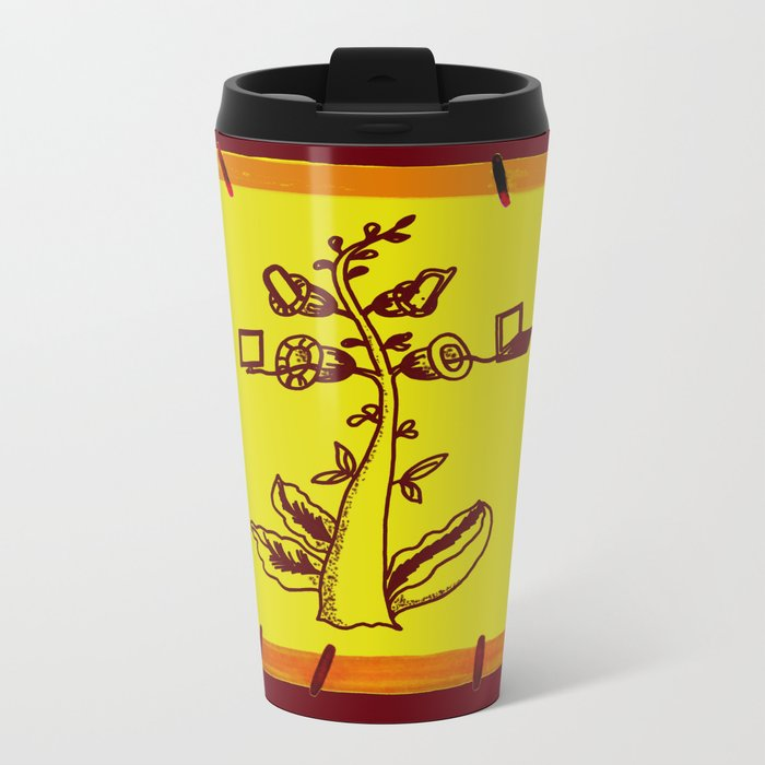 tree with a computer , telephone and other device Metal Travel Mug
