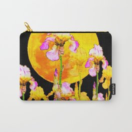 SURREAL IRIS GARDEN & RISING GOLD MOON IN BLACK SKY Carry-All Pouch