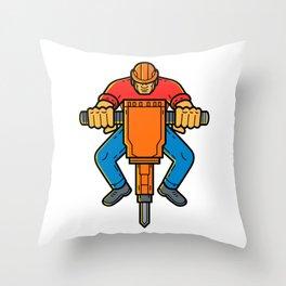 Construction Worker Jackhammer Mono Line Art Throw Pillow