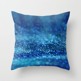 Aqua Glitter effect- Sparkling print in different blue Throw Pillow
