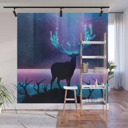 Greenery Deer - Sterling Magenta Wall Mural