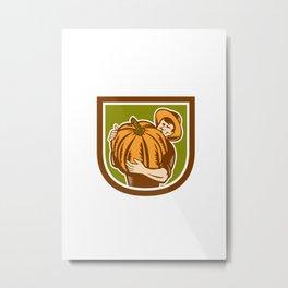 Organic Farmer Holding Pumpkin Shield Retro Metal Print